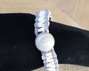 Agate White/grey bracelet, suede