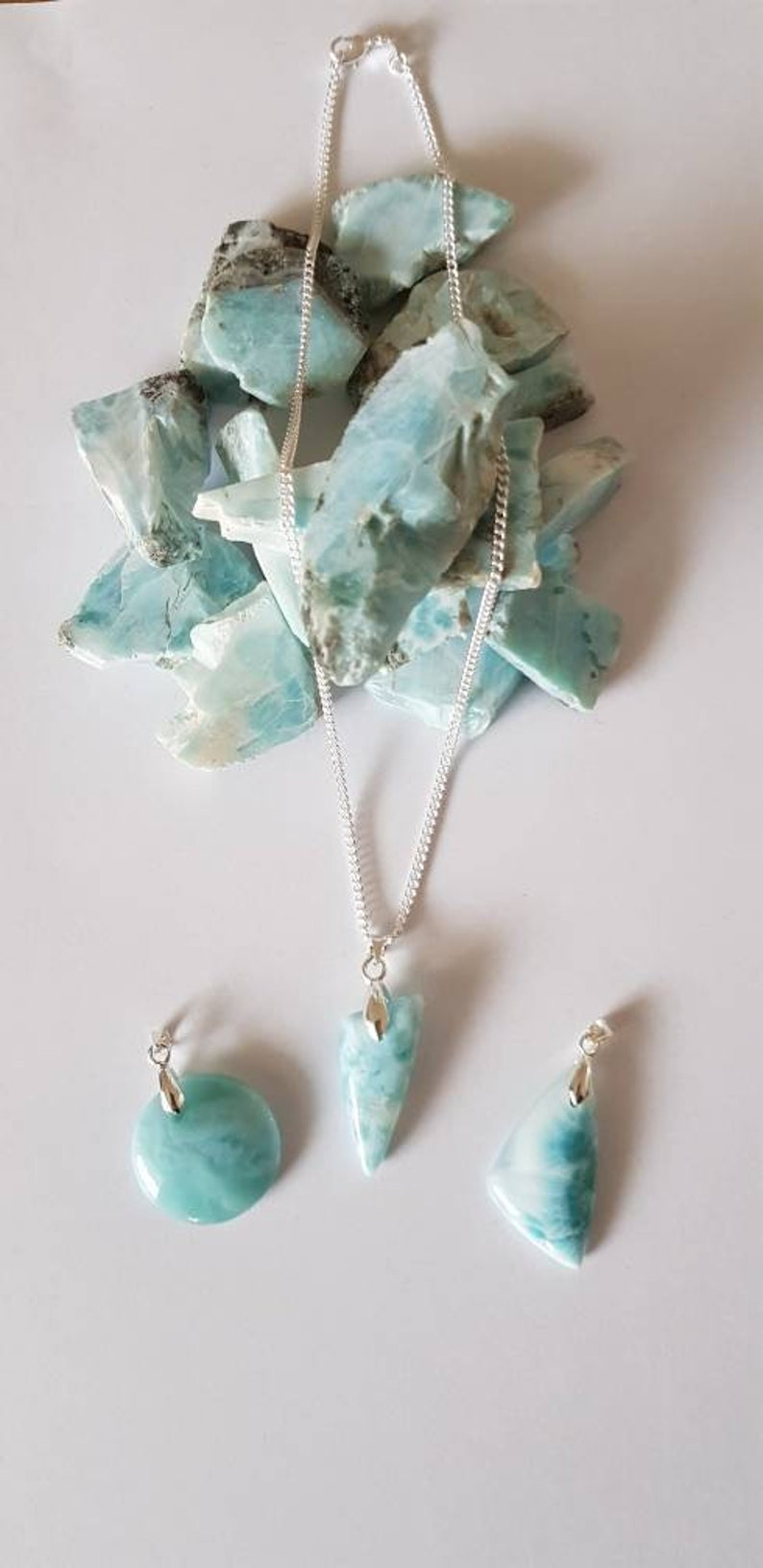 Larimar pendant from the Dominican Republic Also known as the Atlantis Stone Gives spiritual and spiritual strength.