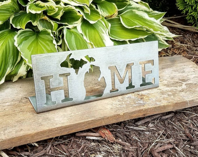 Featured listing image: Michigan Sign / Michigan Home Sign / Home Sign / Home Metal Sign / Housewarming Gift / Farmhouse Sign / Rustic Metal Sign / Farmhouse Sign
