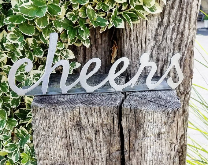 Featured listing image: Cheers Sign Custom Wedding Sign Cheers Metal Sign Wedding Bar Sign Farmhouse Decor Bridesmaid Gift Custom Family Sign Fixer Upper Sign