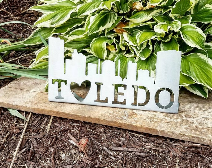Featured listing image: Toledo Sign / Toledo Skyline / Toledo Metal Sign / Toledo Skyline Sign / Toledo College / Ohio Sign / Toledo / Toledo Pride / Toledo Gift
