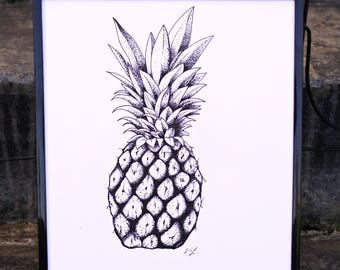Pineapple Pen And Ink Print - Fruit, Minimalist, Black And White, Art
