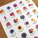 Flower stickers, A4 sheet of circular stickers with original illustrations