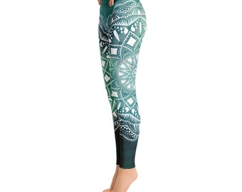 66cbbadce6 Green mandala yoga leggings