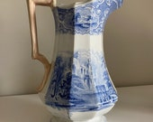 E Challinor large wash stand pitcher- blue and white- ironstone- Priory pattern