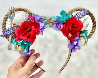 Ariel Mickey ears / Little Mermaid Minnie ears / Princess headband / Under the sea / Floral Headband / Floral Mickey Ears / Disney ears