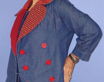 Denim Jacket with Red Patchwork Lapels (size10au) UPCYCLED in retro style