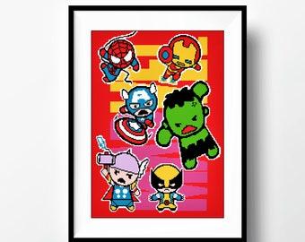 BUY 2 GET 1 FREE. Super Heroes Cross Stitch Pattern, Marvel, Captain America, Ironman, Wolverine,Нalk, Thor, spiderman/ Digital in .pdf #A21