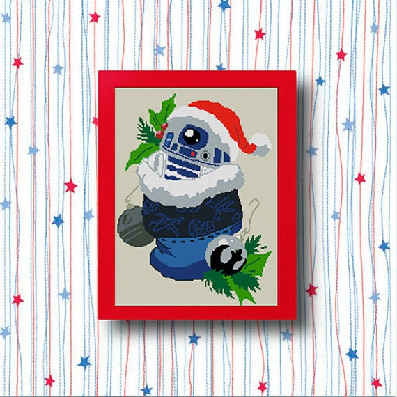 R2D2/Star Wars Christmas cross-stitch pattern