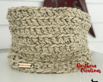 Oatmeal Crochet Cowl - READY TO SHIP - Gifts for Her - Winter Scarf