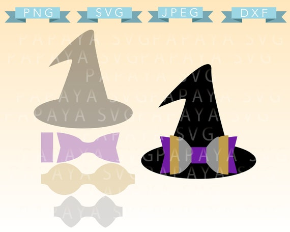 Diy Double Bow Witch Hat Template Cut File Svg Dxf Jpeg Etsy