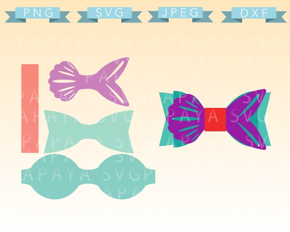 Mermaid Bow Template Cut File Svg Png Jpeg Cricut Etsy