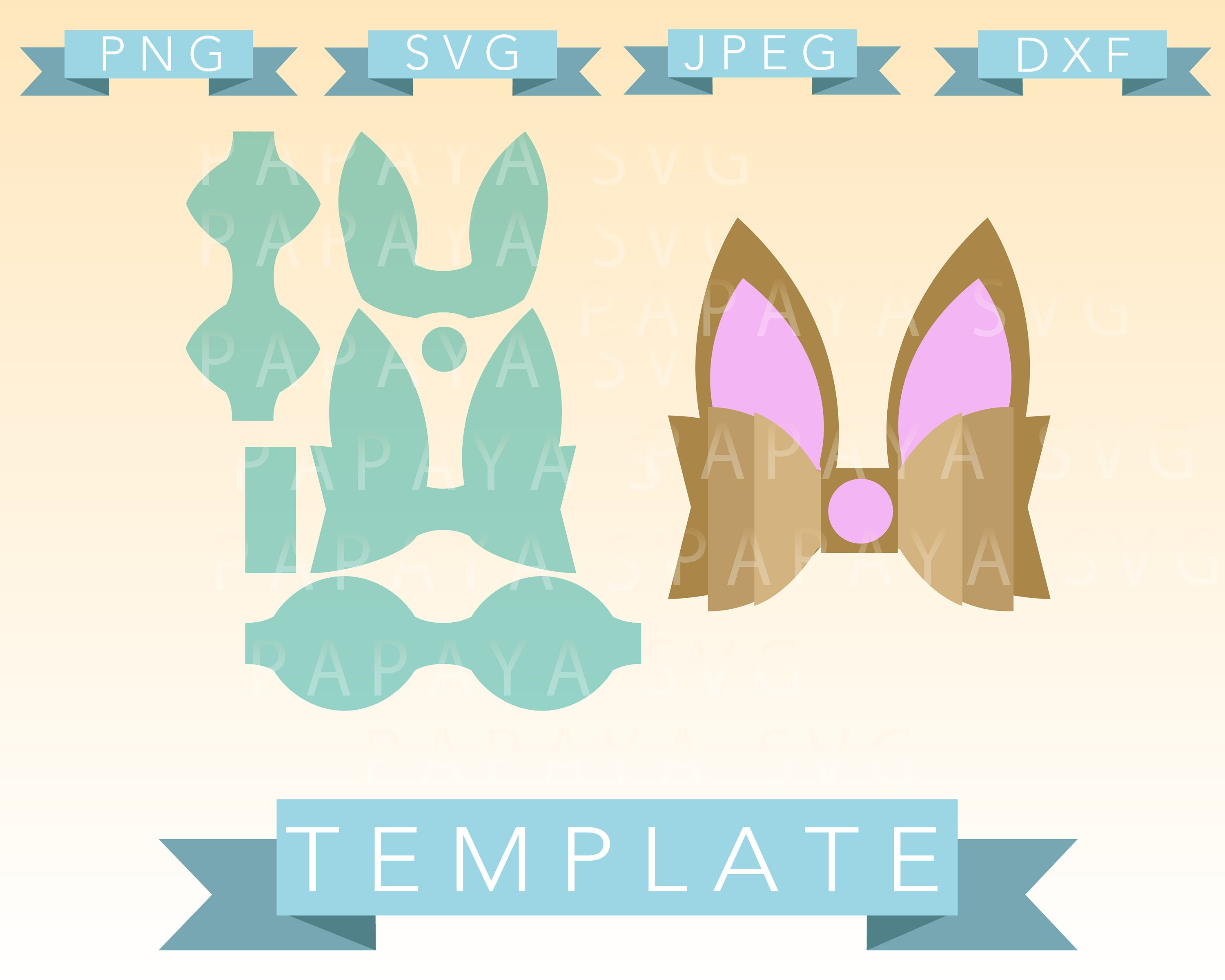 Diy Double Easter Bow Template Cut File Svg Png Jpeg Etsy