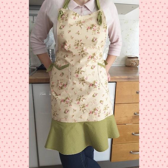 pretty apron apron with pockets handmade apron Apron cooking apron kitchen apron floral print apron decorative apron birthday gift