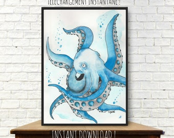 Instant download from a watercolor painting, illustration, decor, octopus painting, sealife, nursery decor, octopus watercolor, printable