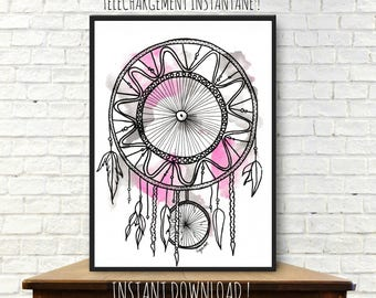 Instant download from original watercolor painting, dreamcatcher watercolor, illustration, room decor, printable