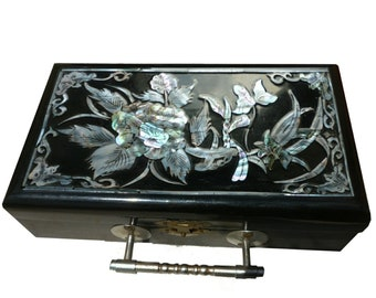 Vintage black lacquer with mother of pearl inlayed jewellery box.