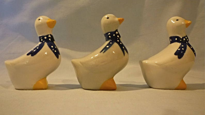 salt x 2,and serviette rings x 2 REDUCED by 50/% French ceramic ducks Pepper