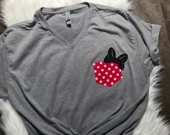 407f2581 Disney-Disney shirt for women Disney family shirts Minnie pocket Tshirt  Disney tshirt-Disney personalized matching family vacation shirts