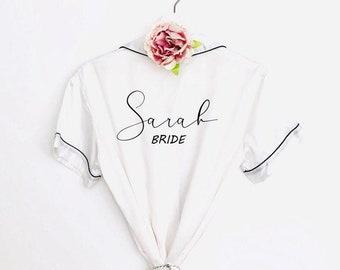 Satin pyjamas, Bridal pyjamas, personalised pjs, bridal robes, initials pyjamas, hen party pjs