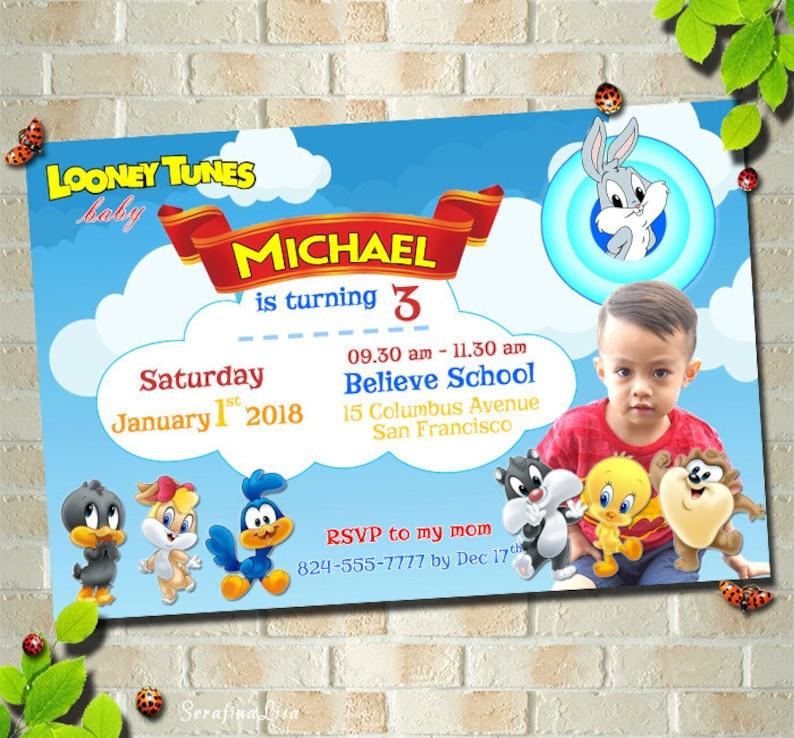 Baby Looney Tunes Birthday Invitation Bugs Bunny Card Walt Etsy