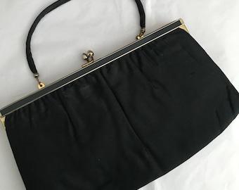 Vintage black satin clutch