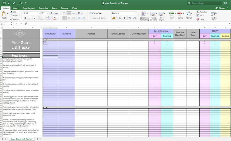Your Wedding Guest List Tracker Wedding Planning Template image 0