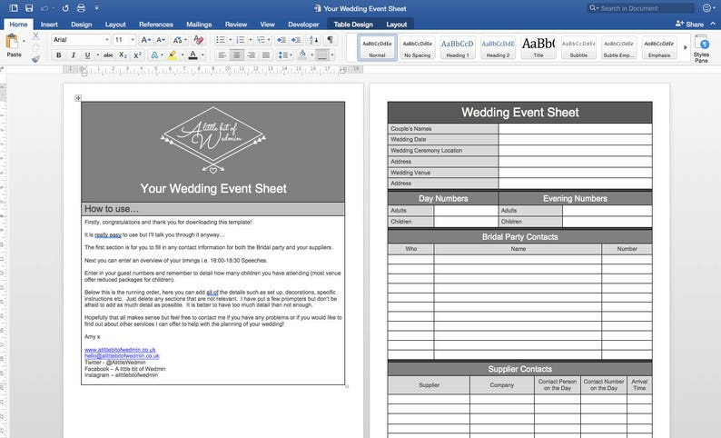 Your Wedding Event Sheet Wedding Planning Template image 0