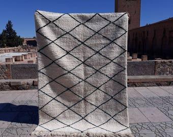 Moroccan Beniouarain Wool And Cotton Carpetberber Rug 210 Cm Etsy