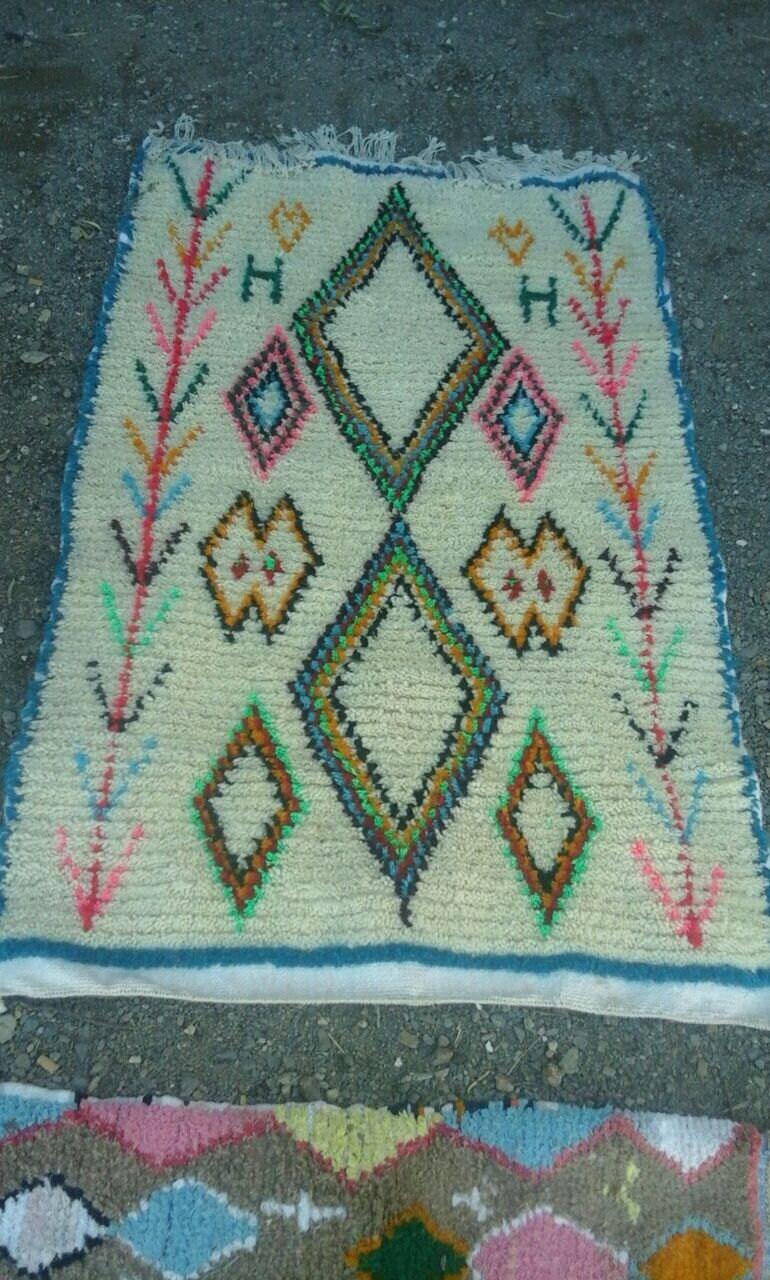 tapis en laine et coton azilal marocain tapis berb re 145. Black Bedroom Furniture Sets. Home Design Ideas