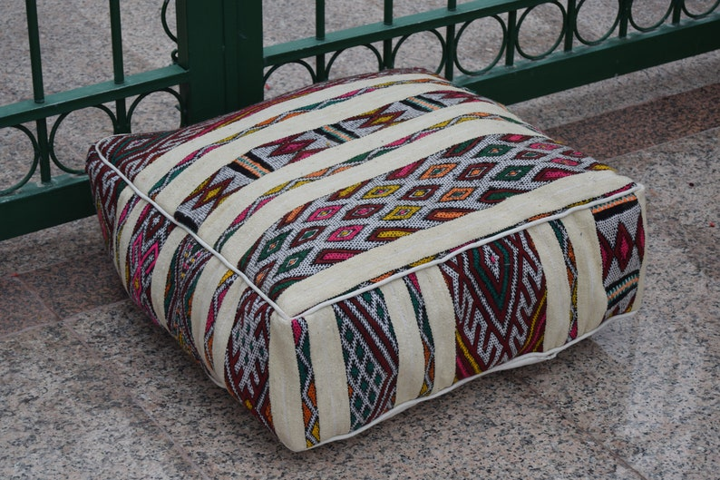 Multicolor Azilal Moroccan square wool  pouf Handmade wool floor poufs Vintage Marmusha footstool Home decor furniture 100/% wool