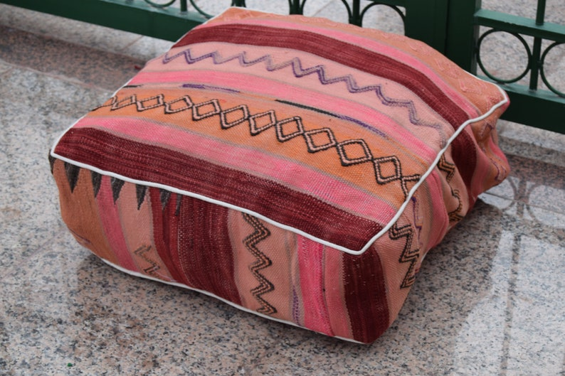 Azilal Moroccan square wool  pouf Handmade wool multicolor floor poufs Vintage Moroccan decoration footstool Home decor furniture 100/% wool
