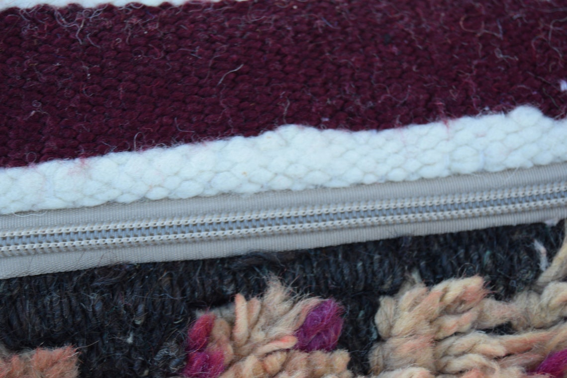100% wool Vintage Moroccan pouf footstool Floor poufs  Home decor furniture Moroccan Berber Square  Multicolor Azilal pouf Handmade pouffe