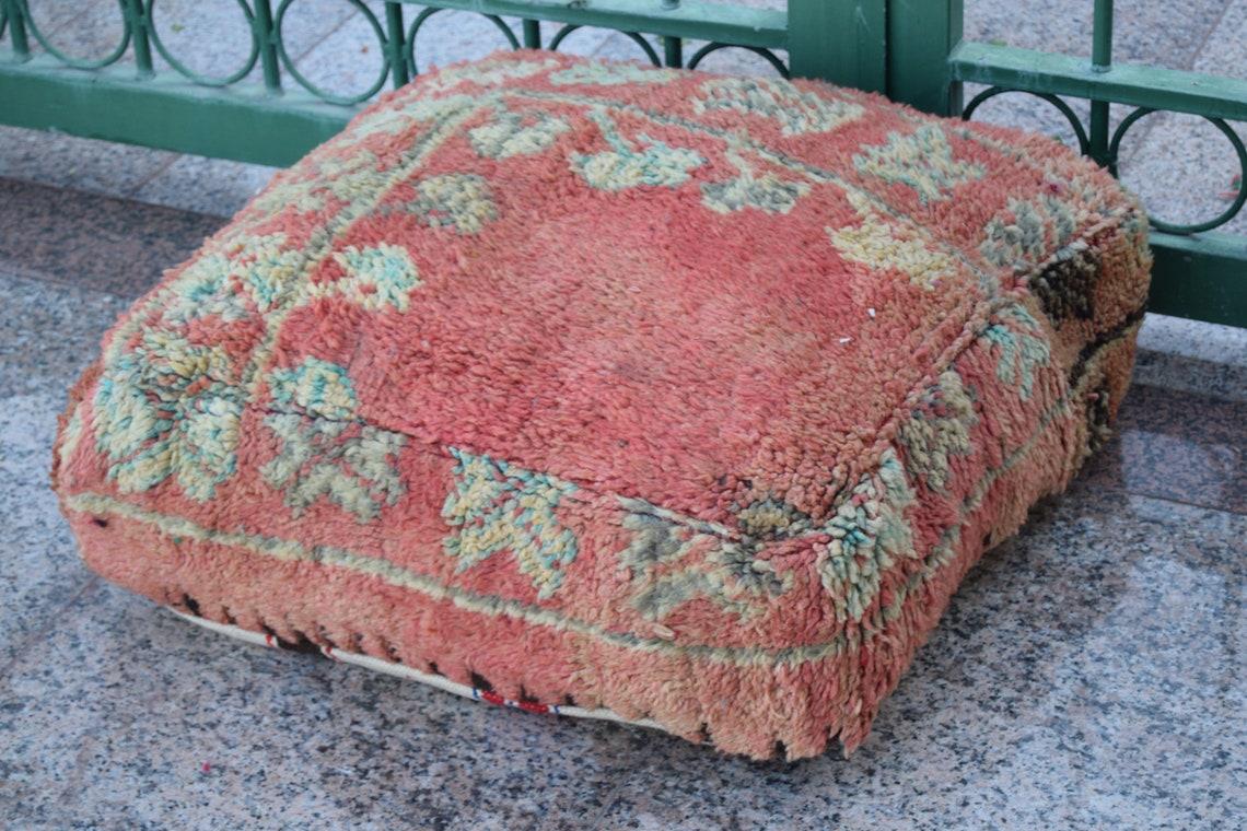 Vintage Moroccan pouf Square Boho art Home decor Floor poufs Berber art pouf wedding gift Azilal pouf 100 % Wool  handmade pouf decoration