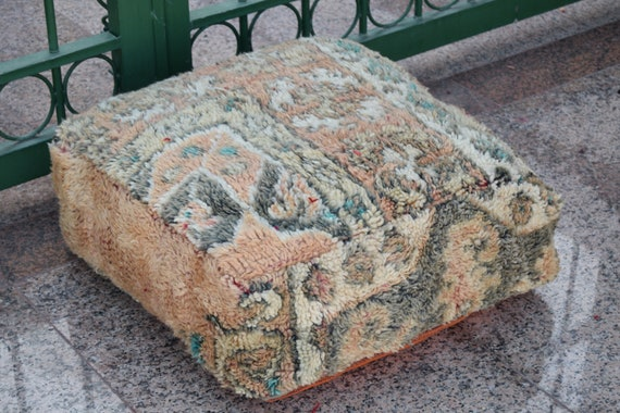 Multicolor pouf Vintage pouf Home decor Azilal pouf Floor poufs Boho design Special Wedding gift Moroccan Square 100 /% wool Berber art