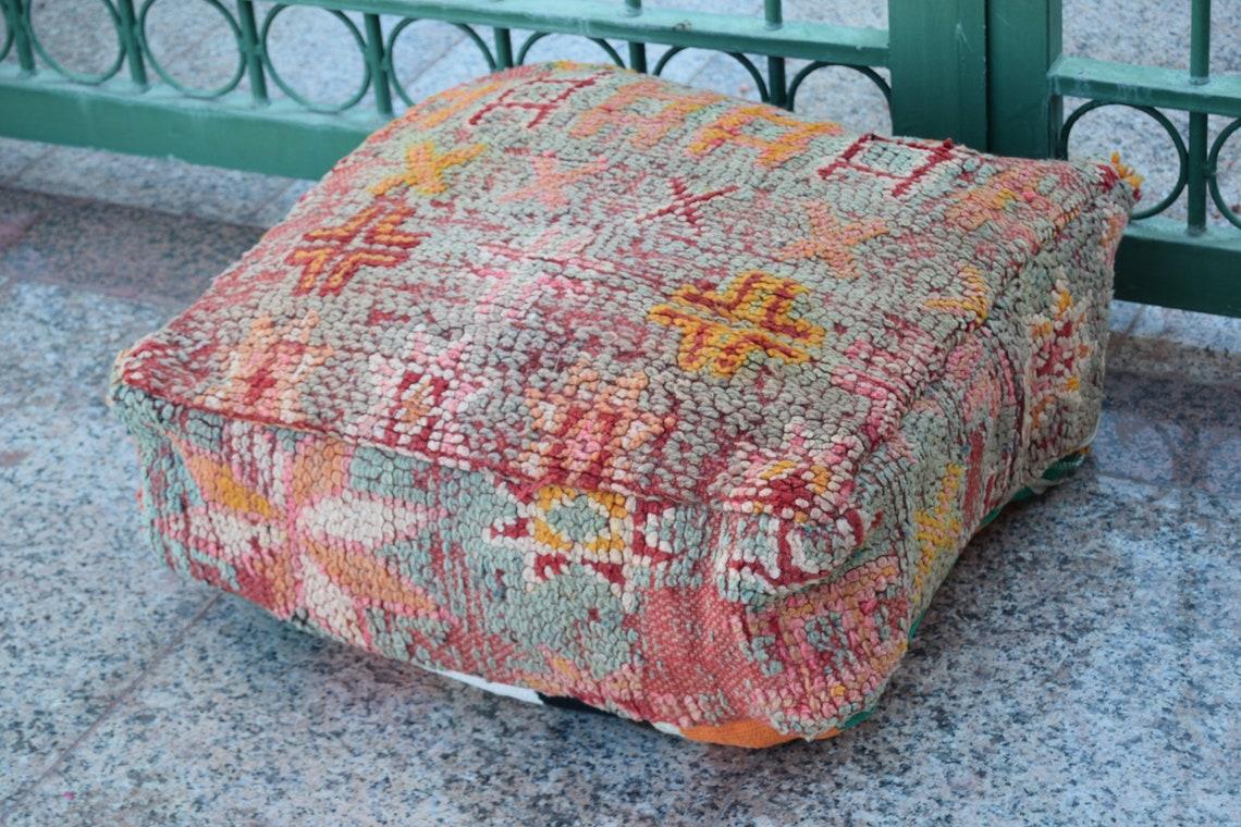 Azilal Ottoman pouf Home decor Square colored design 100% wool Colored design  furniture Moroccan pouf Floor poufs Handmade Multicolor