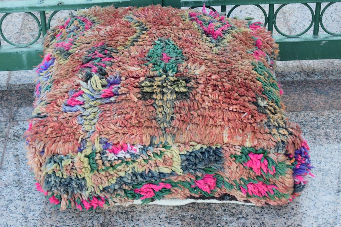 Azilal Floor poufs Moroccan Berber pouf Gift Multicolor Poufs Best selling Vintage furniture Home decor footstool Handmade design pouf