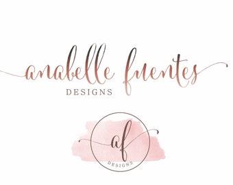 Aquarelle Logo, Logo en filigrane, conception de Logo, filigrane tampon Logo, Logo du Blog, Script police, logo, Logo Or Rose, calligraphie Logo Kit