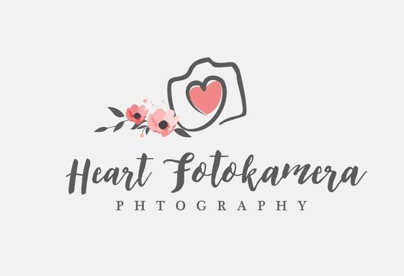 Photography Logo Camera Logo Camera Heart Logo Floral Etsy