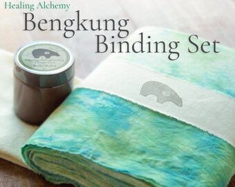 "Bengkung Postpartum Set: Bengkung Belly Bind Premium 17 Yards x 9"", Organic Firming & Tightening Belly Balm, Flannel Under Cloth"