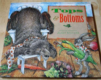 Tops & Bottoms by Janet Stevens--Classic Folk Tale--Adapted and Illustrated--Copyright 1995--Harcourt Brace Co.--Shipping Included
