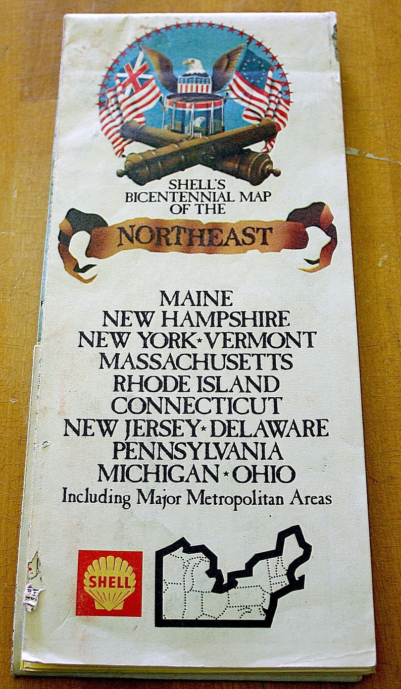 Bicentennial Road Map Of The Northeast United States Of | Etsy