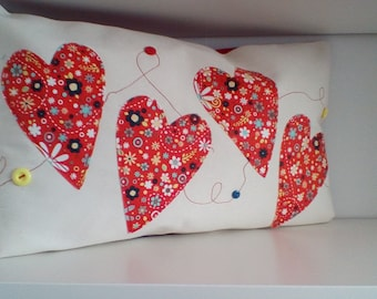 Heart applique cushion