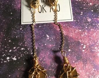Gold Brass Pyrite Penny Earrings