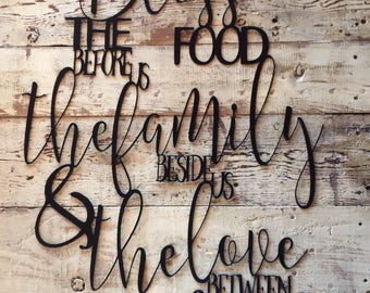 Bless the food before us, the family beside us & the love between us Custom Christian Metal Art Home Decor - The Metal Word Original Design