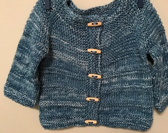 Hand Knit Boys Size 18 Month 100 % Cotton Sweater