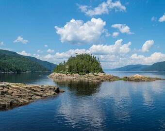 Island photo, ocean, water, blue sky, nature, landscape, wall art, home decor, printable,summer,trees