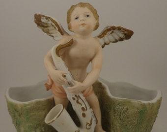 Victorian Angel Saxaphone Porcelain Planter