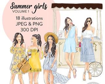 Summer girls watercolor clipart - volume 1, fashion illustration, fashion print, watercolour, fashion clipart, girl logosprintable art