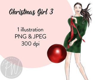 Watercolor fashion illustration, Christmas girl 3, printable art, fashion clipart, instant download, fashion illustration print